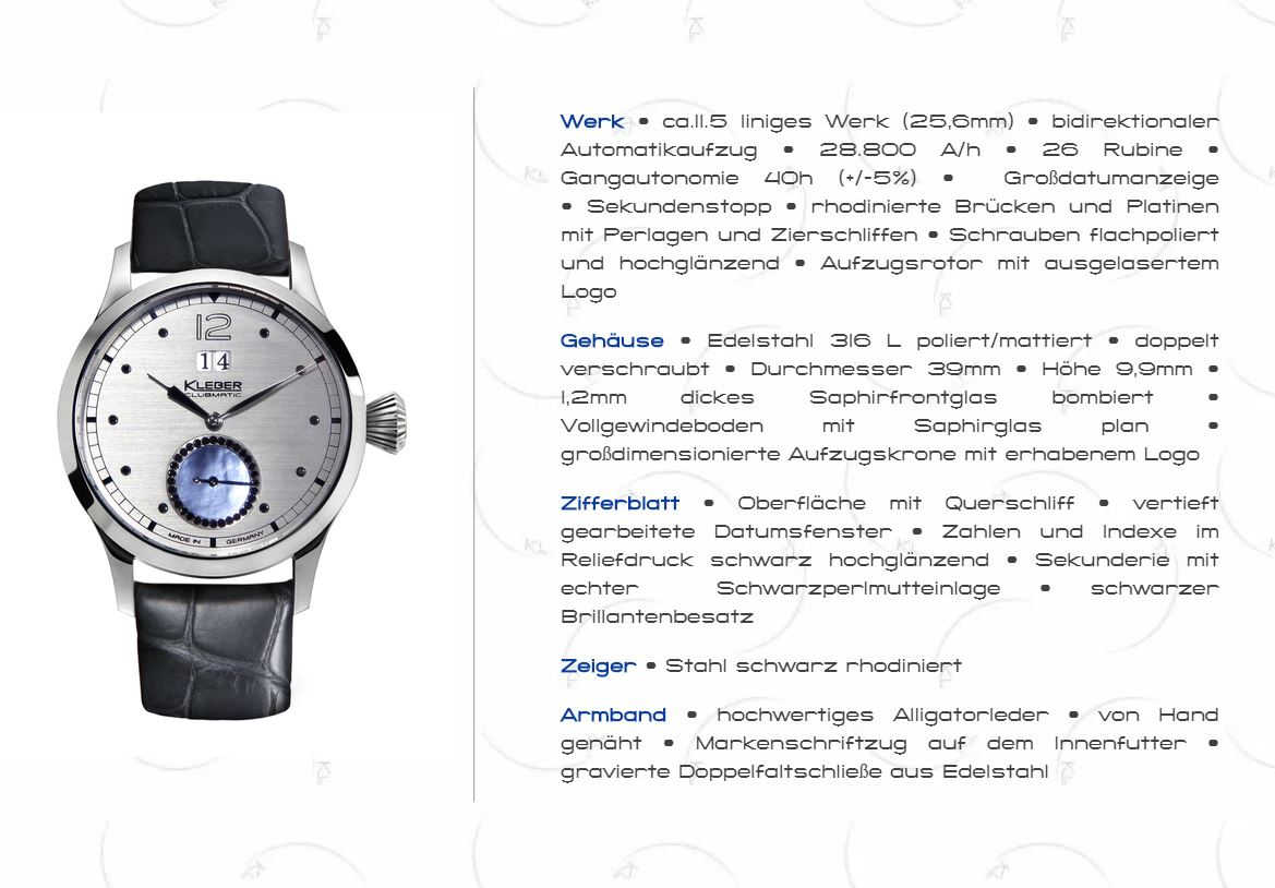 Frank Kleber Clubmatic Black Diamonds - technische Info